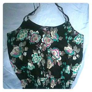 Love fire black sleevless floral blouse